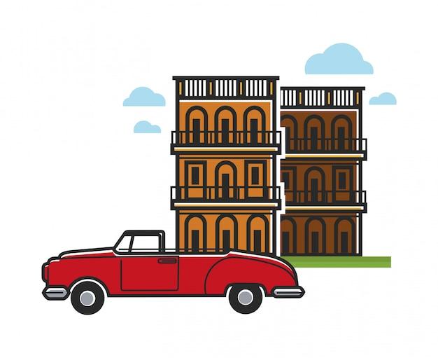 Cuba voyage voiture et architecture célèbres Vecteur Premium