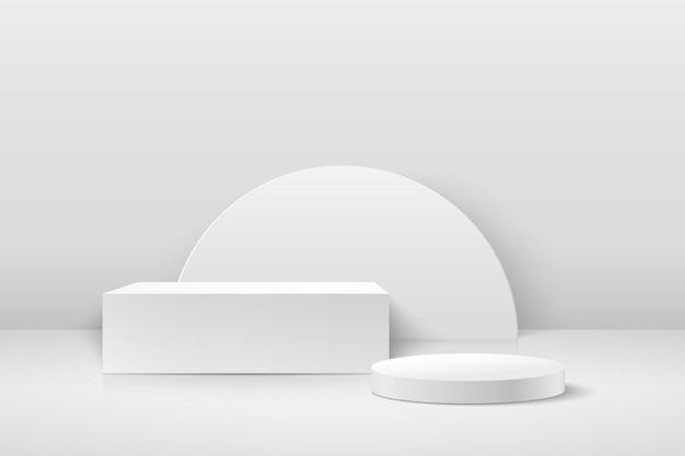 Cube Abstrait Et Affichage Rond Pour Produit Sur Site Web Dans Un Style Moderne. Vecteur Premium