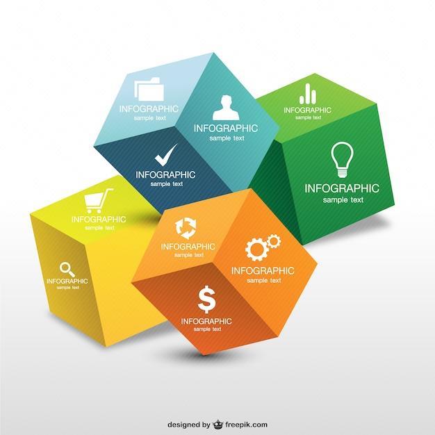 Cube Design Infographie 3d Vecteur Premium