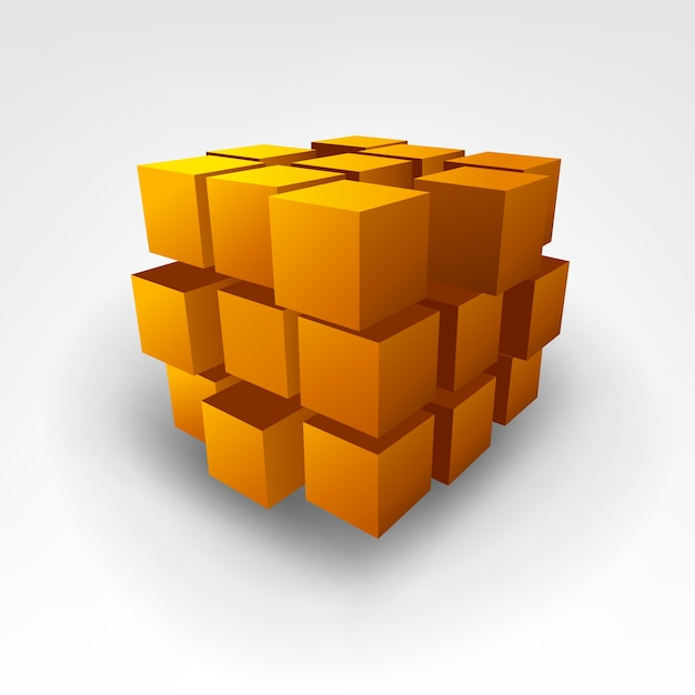 Cube D'or Abstrait Vector Illustration Vecteur Premium