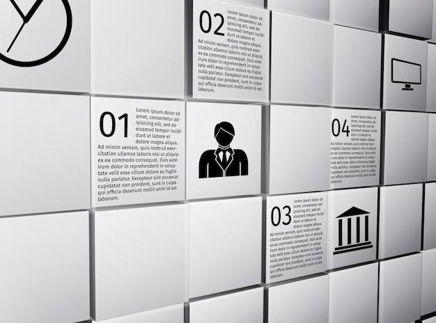 Cubes 3d abstraits mur gabarit de conception infographique design pour illustration vectorielle de présentation rapport Vecteur gratuit