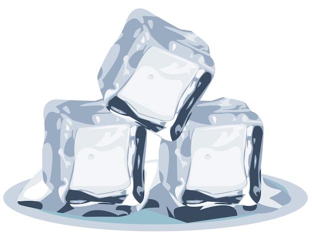 Cubes de glace sur fond blanc Vecteur Premium