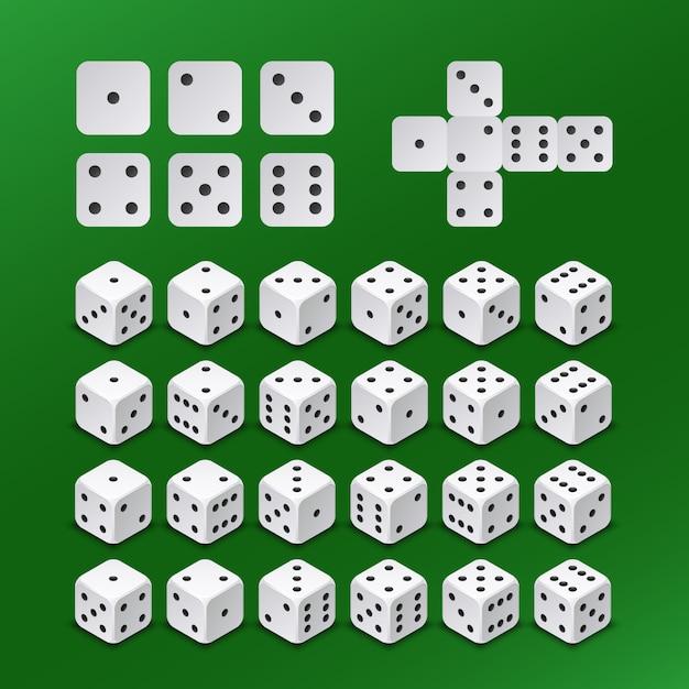 Dés cubes de jeu dans tous les ensembles de vecteurs de positions possibles. cube de dés pour jouer au jeu illustration Vecteur Premium