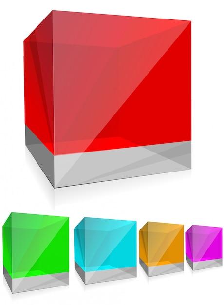 Cubes En Verre De Couleur Brillante Vecteur Premium