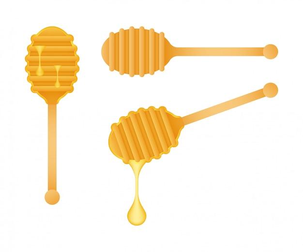Cuillère En Bois Pour Une Douceur Liquide. Honey Dipper. Illustration De Stock. Vecteur Premium