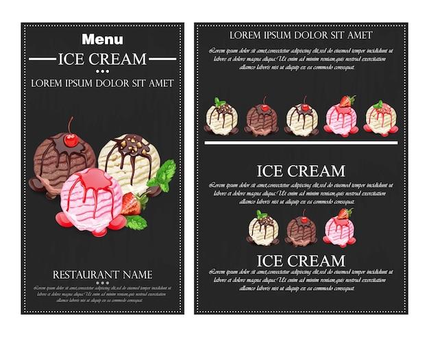 Cuillères à crème glacée Vecteur Premium