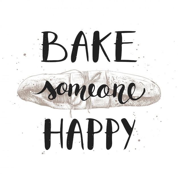 Cuire au four quelqu'un heureux avec de la baguette gravée Vecteur Premium