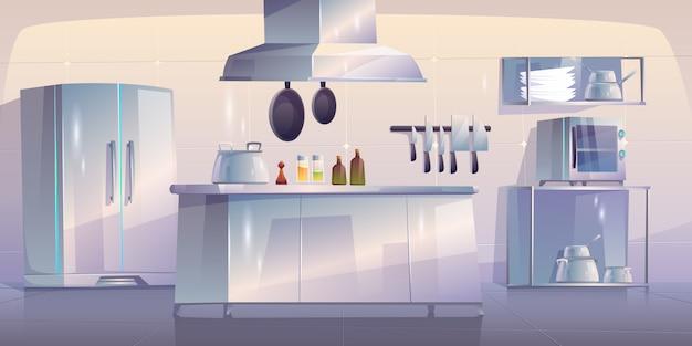 Cuisine Dans Un Intérieur Vide De Restaurant Avec Des Fournitures Vecteur gratuit