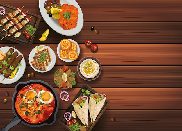 Cuisine Du Moyen-orient Dans L'illustration De La Table En Bois Vecteur Premium