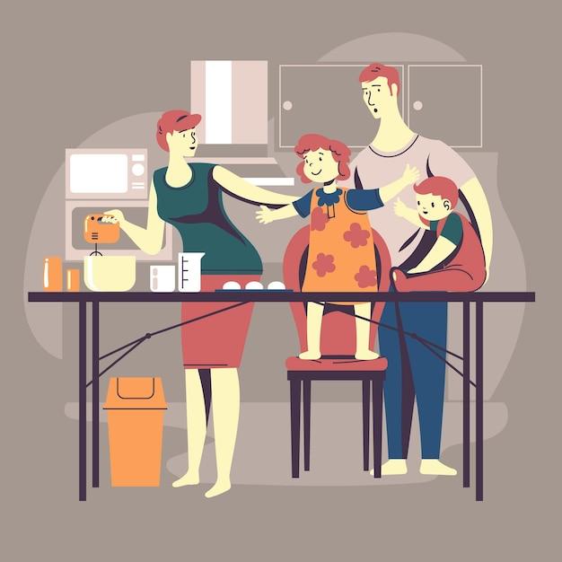 Cuisine En Famille Dans La Cuisine Vecteur gratuit
