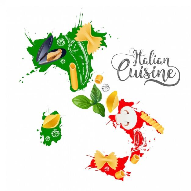 Cuisine italienne Vecteur Premium