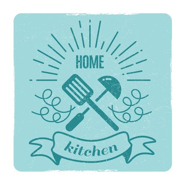 Cuisine à la maison, étiquette de cuisine à la maison Vecteur Premium