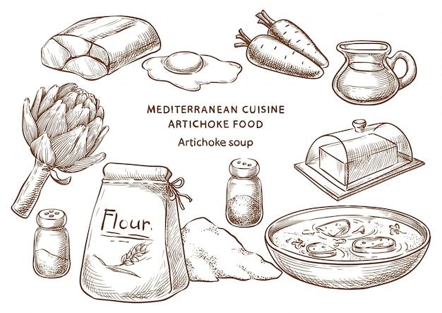 Cuisine méditerranéenne Vecteur Premium