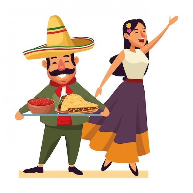 Cuisine mexicaine et culture traditionnelle Vecteur Premium