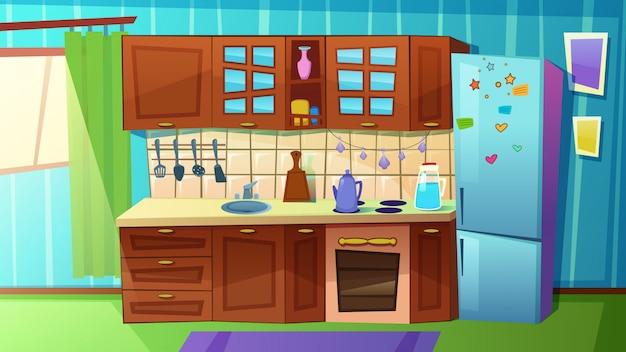 Cuisine moderne confortable avec appareils ménagers, Vecteur Premium