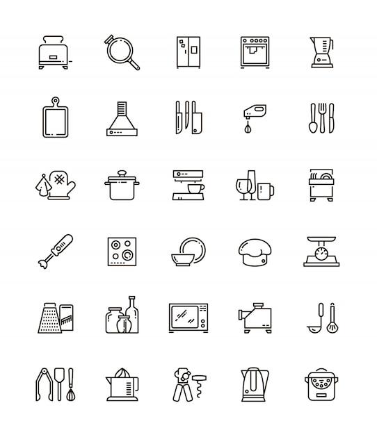Cuisine, outils de cuisine et appareils électroménagers ligne d'icônes. Vecteur Premium