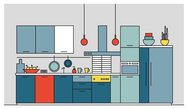 Cuisine Pleine De Meubles Modernes, D'appareils électroménagers, D'ustensiles De Cuisine, D'équipements De Cuisine, D'équipements Et De Décorations Pour La Maison Vecteur Premium
