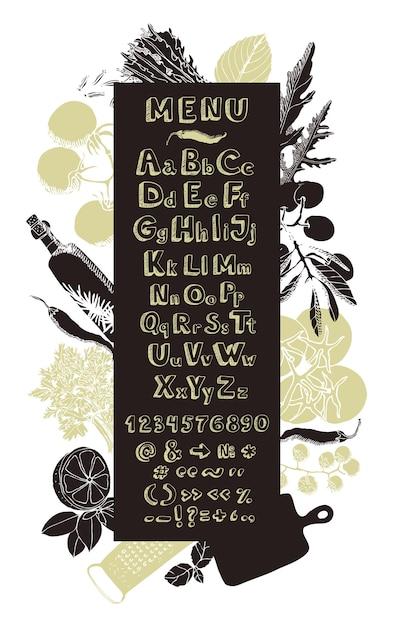 Cuisine De Restaurant Carte De Menu Alphabet De Dessin A La Main