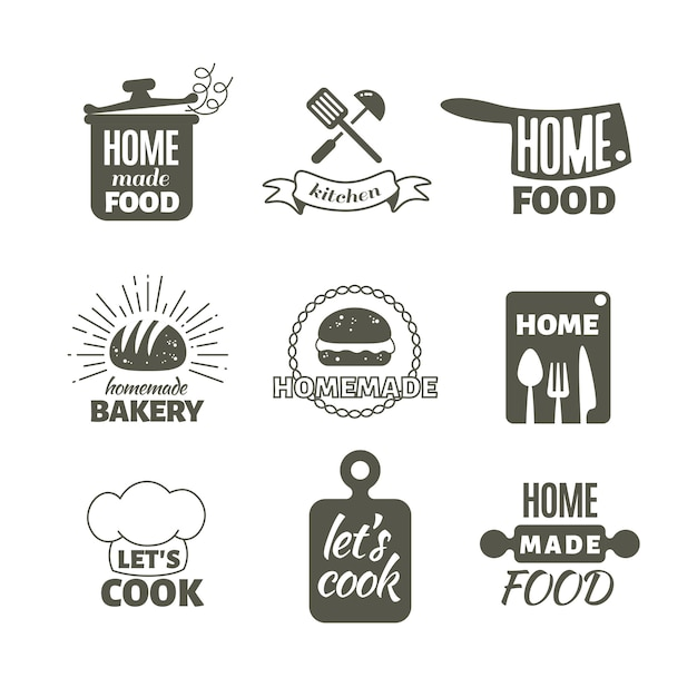Cuisine rétro à la maison Vecteur Premium