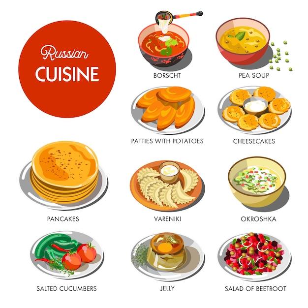 Cuisine russe plats traditionnels set Vecteur Premium