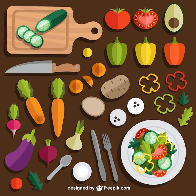 Salade verte vecteurs et photos gratuites - Cuisine saine et simple ...