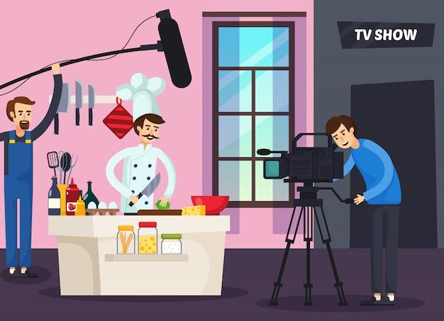 Cuisine série télévisée composition orthogonale Vecteur gratuit
