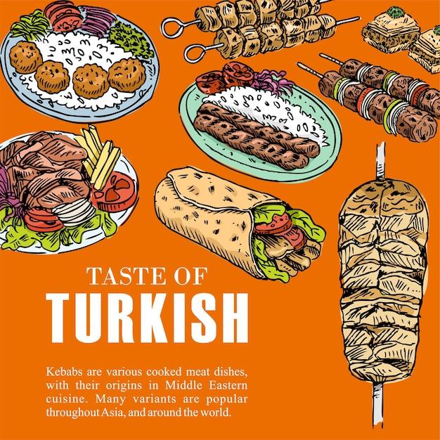 Cuisine Turque Dessinée à La Main Vecteur Premium