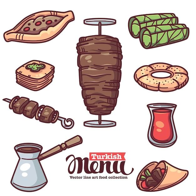 Cuisine Turque Traditionnelle, Collection D'objets D'art En Ligne Pour Votre Menu Vecteur Premium