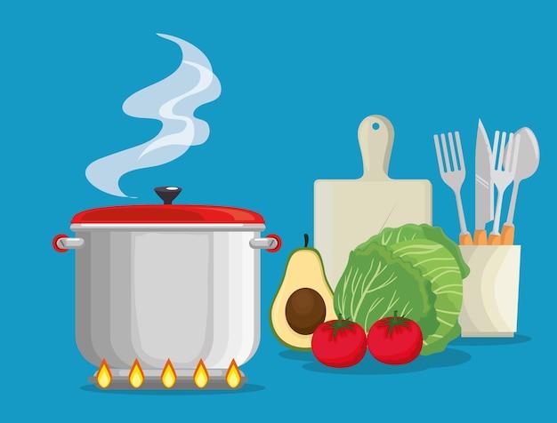 Cuisiner avec des aliments frais et biologiques Vecteur Premium