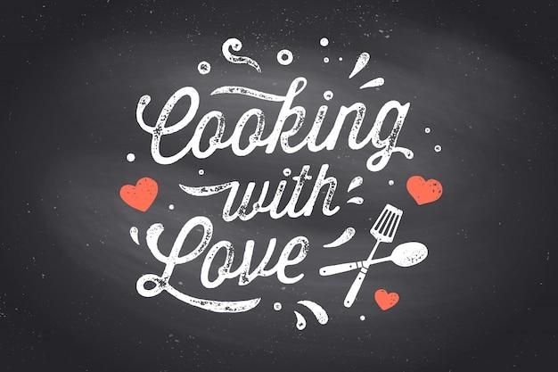 Cuisiner Avec Amour. Affiche De Cuisine. Décoration Murale De Cuisine, Signe, Devis Vecteur Premium