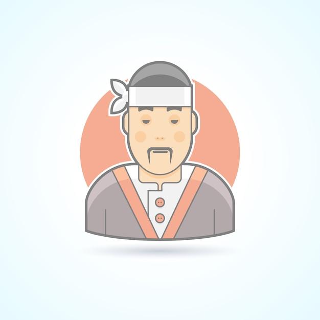 Cuisinier Japonais Et Asiatique, Maître De Sushi, Icône De La Cuisine Traditionnelle. Illustration D'avatar Et De Personne. Style Souligné De Couleur. Vecteur Premium