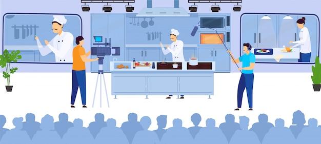 Cuisinier En Ligne Blog Vidéo Culinaire Enregistrement Chef Cuisine Sur Internet Et Opérateurs Avec Illustration De Matériel Vidéo Vecteur Premium