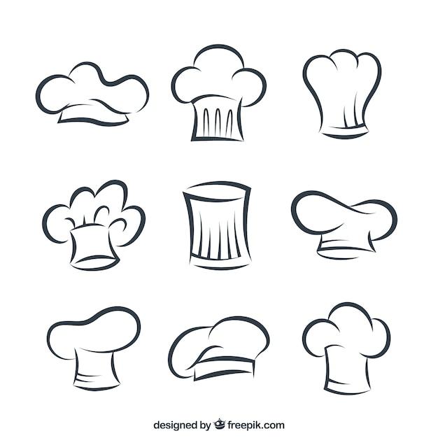 Cuisinier Sketchy Chapeaux Vecteur gratuit