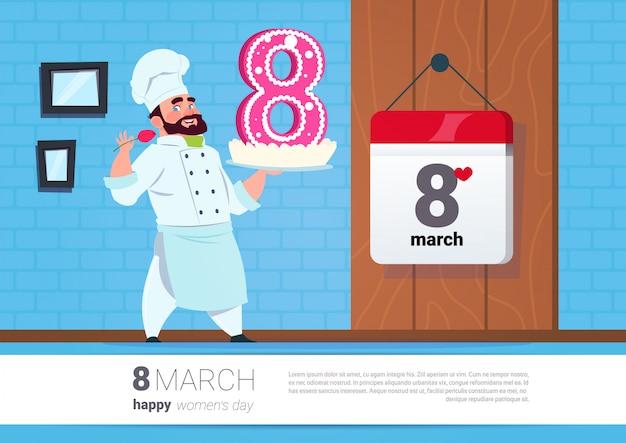 Cuisinier tenant un gâteau pour le 8 mars, fête des femmes heureuse bannière créative Vecteur Premium