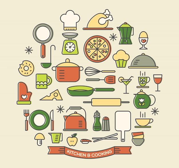 Cuisson des aliments et des icônes de couleur cuisine Vecteur Premium
