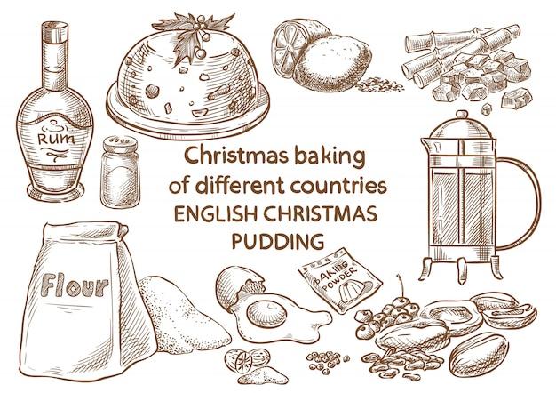 Cuisson de noël. ingrédients.pudding de noël anglais. Vecteur Premium