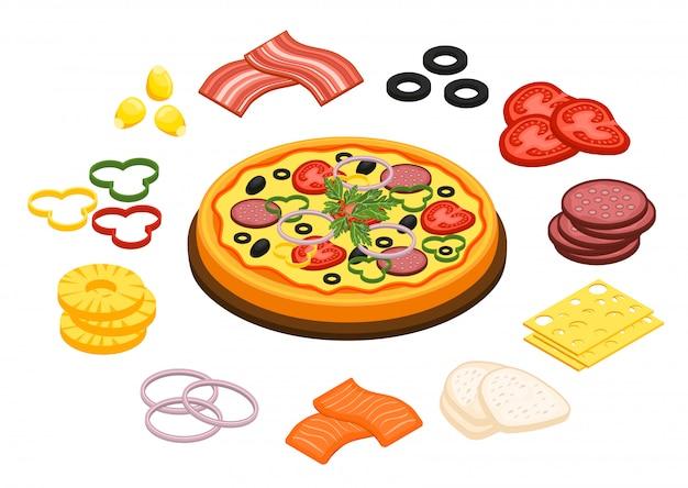 Cuisson pizza concept Vecteur gratuit