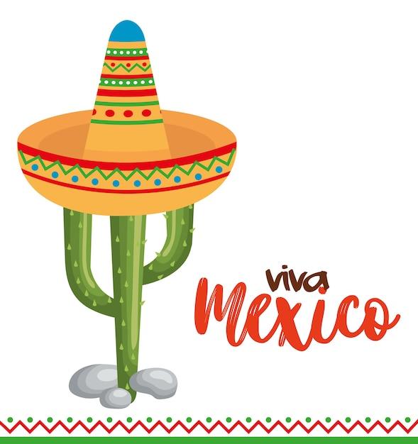 Culture mexicaine cactus avec chapeau Vecteur Premium