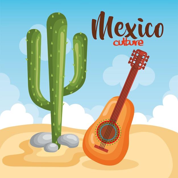 Culture mexicaine cactus avec guitare Vecteur Premium
