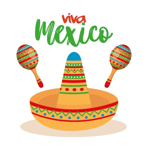 Culture mexicaine chapeau traditionnel et maracas Vecteur Premium