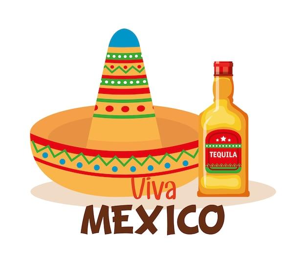 Culture mexicaine chapeau traditionnel et tequila Vecteur Premium
