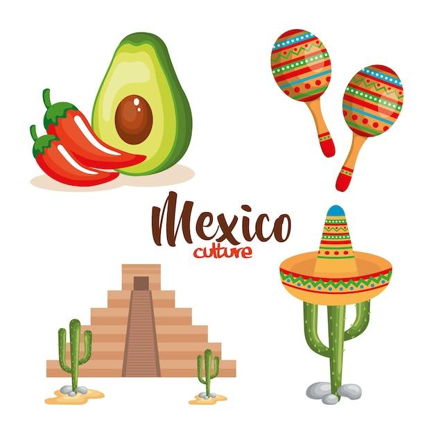 Culture mexicaine définie des icônes Vecteur Premium