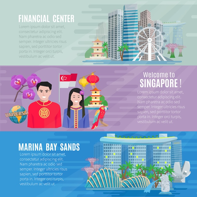 Culture de singapour pour les voyageurs 3 bannières horizontales plates serties de centre d'affaires financiers Vecteur gratuit