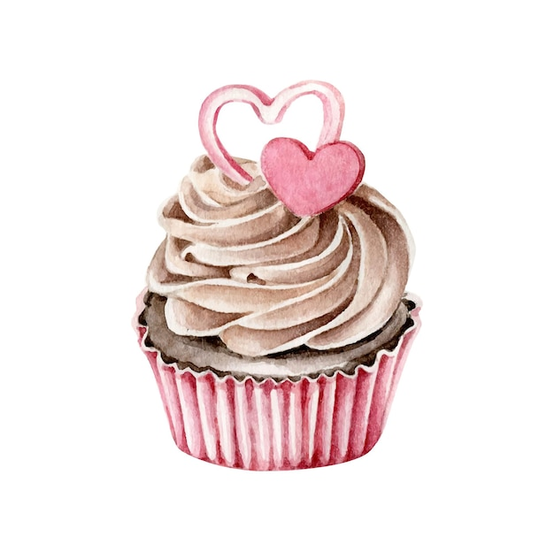 Cupcake Aquarelle Avec Des Coeurs Isolés Sur Blanc Vecteur Premium