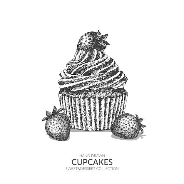 Cupcake Aux Fraises Savoureux Pâtisserie Sucrée Noir Et