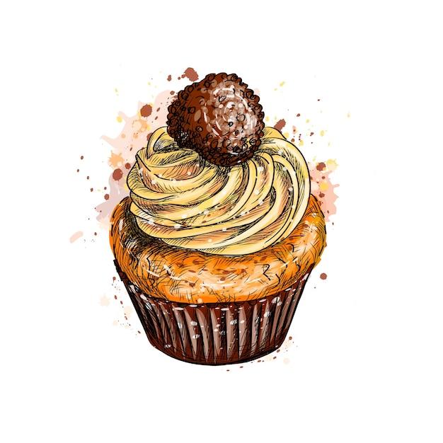 Cupcake à La Crème D'une éclaboussure D'aquarelle, Croquis Dessiné à La Main. Illustration De Peintures Vecteur Premium