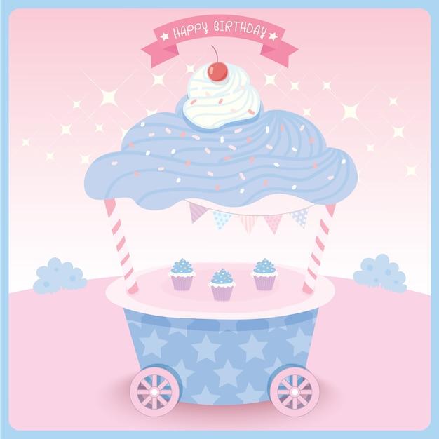 Cupcake design pour carte d'anniversaire. Vecteur Premium