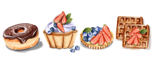 Cupcake donuts et gaufres à l'aquarelle Vecteur Premium