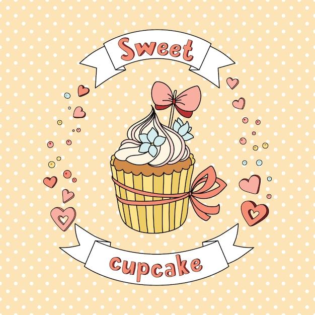 Cupcake doux vecteur sur fond délicat Vecteur Premium