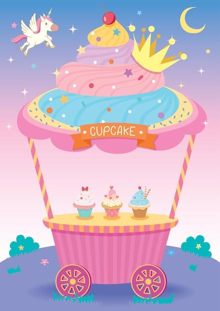 Cupcake fantasy Vecteur Premium